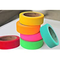 Set of 6 Attractive Neon Color Adhesive Paper Tapes for Decorative Purposes like Art and Craft Projects, Gifts and More (Size :20mm x 5m)