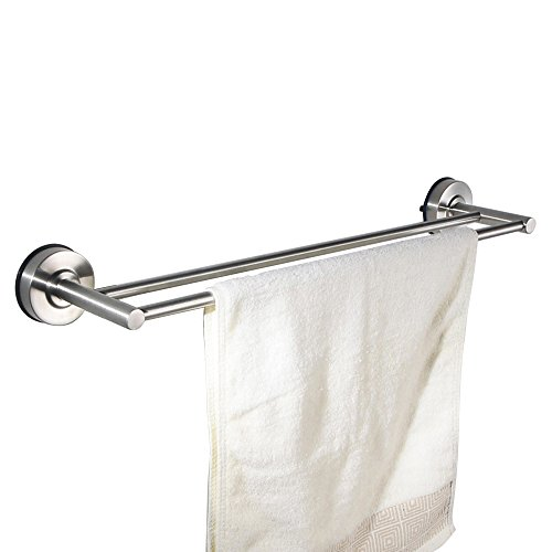 kes suction cup double towel bar sus 304 stainless steel no drill wall mount ebay. Black Bedroom Furniture Sets. Home Design Ideas