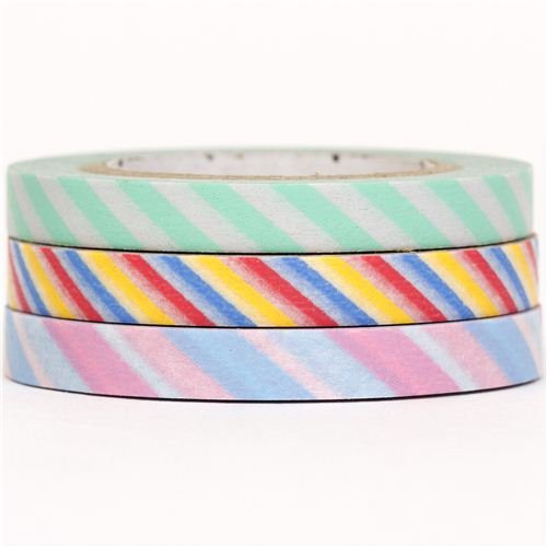 slim mt Washi Masking Tape deco tape set 3pcs stripes rose