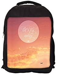 Snoogg Fly Away Abstract Quote Backpack Rucksack School Travel Unisex Casual Canvas Bag Bookbag Satchel
