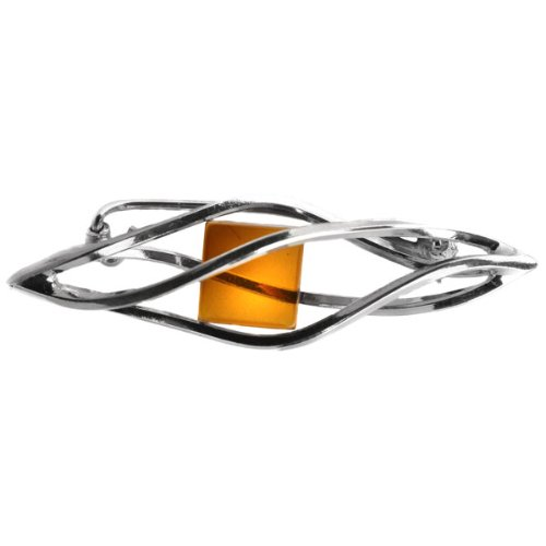 Baltic Honey Amber Sterling Silver Millennium Collection Large Pin