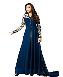Pal Tex Fab Apparel New Attective Blue Georgette Anarkali Style Gowan Dress Material