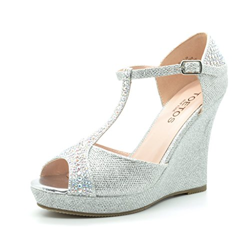 TOETOS ALINA-29 Women's Elegant Classic Rhinestones Embelishment Adjustable Strap Open Toe Wedge Heel Platform Pumps Shoes New SILVER SIZE 9