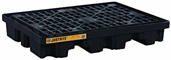 "Justrite 28672 EcoPolyBlend 68 Gallon Sump, 55"" x 45"" x 9"" (LXWXH), 2500 lbs Load Capacity 2 Drum Low Line Pallet"