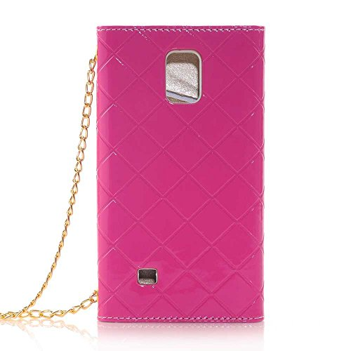 Nancy'S Shop Hand Bag Case Cover For Samsung Galaxy Note Iv Luxury Bow Fashion Wallet Flip Feature With Card Slots/Holder&Strap Pu Leather Hand Bag Case Cover For Samsung Galaxy Note 4 (Hand Bag Purple Nancy'S Shop Case)