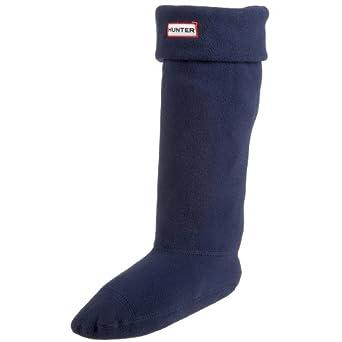 Women's Hunter Fleece Welly Short Socks NAVY Welsock Cream For Hunter Boots (NAVY, medium)