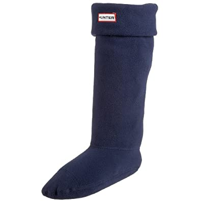 Women's Hunter Fleece Welly Short Socks NAVY Welsock Cream For Hunter Boots (NAVY, medium)