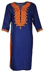 Tarang Mart Women's Viscose Straight Kurta (TM-K117, Blue, XL)