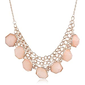Milky Stone Chain Link Bib Rose Gold Necklace, 18
