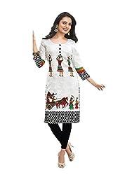 Hrinkar Women's Cotton Unstitched Kurti (HRKT1126_White)