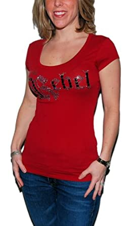 Guess Womens Glitter Studded Rhinestone T-Shirt Sexy Tee White Red Silver