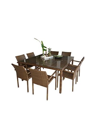 Panama Jack 9-Piece St Barths Arm Chair Dining Set, Brown