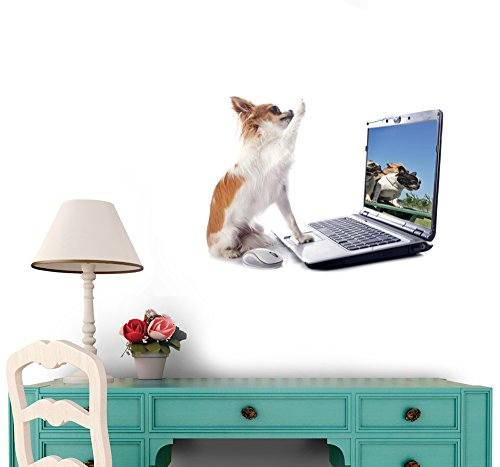 Chihuahua and Computer Vinyl Wall Sticker - 36