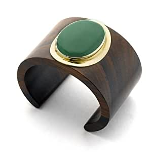 Branch Rosewood And Gold Oval Green Aventurine Stone Cuff. Size Small/Medium