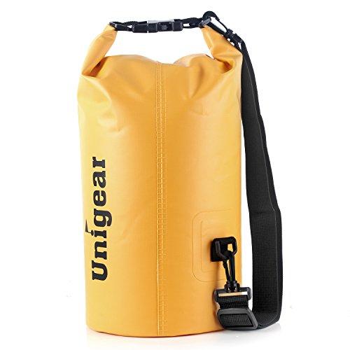 Sacco Dry Bag Borse Impermeabile, Dry Bag Galleggiante può Essere Usato per la Navigazione, Trekking, Kayak, Canoa, Pesca, Rafting, Nuoto, Campeggio, Sci e Snowboard con Omaggio Gratuito di Una Custodia Telefono Impermeabile Universale (Fango Giallo, 20L)