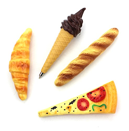 Set of 4 - Novelty Pizza, Bread, Hot Dog & Ice Cream Ball-Point Toy Pen with Magnet Funny Magnetic Refrigerator Ball Pen / Collectible Fridge Ballpoint Pens for School, Store, Office Stationery (Bread Pen compare prices)
