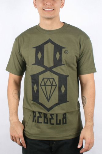 Rebel8 - Logo Mens T-shirt in Army, Size: Large, Color: Army