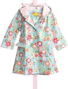 Pluie Pluie Lined Blue Flower Girls Raincoat by Pluie Pluie