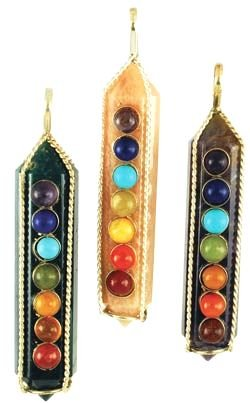 Sterling Silver and Quartz Seven Chakra Amulet
