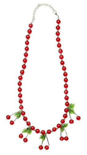 Forum Novelties Women's Retro Rock Novelty Cherry Necklace, Multi, One Size