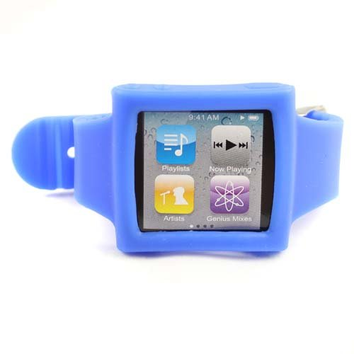 Silicone Sports Wrist Strap Wrist Band Watch Band for iPod Nano 6th Blue