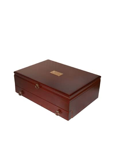 American Chest Company Mahogany-Finished Hardwood Flatware Drawer Chest with Burgundy Lining