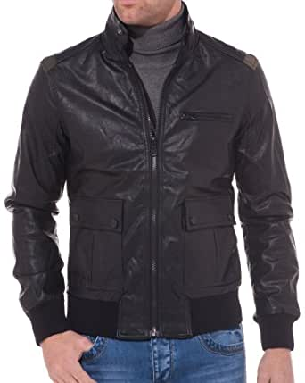 Sixth June - Veste homme noire simili cuir empiècement Kaki - couleur: Noir - taille: XS