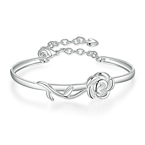 Best Prices! SmallDragon Women's Silver-plated heart bangle Bracelet