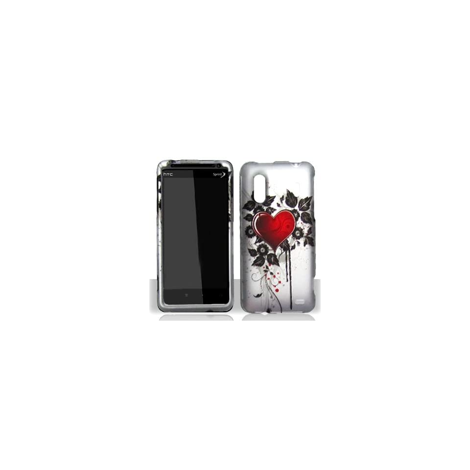 HTC Kingdom Silver with Red Love Heart Black Leaves Vines Design Rubber Feel Snap On Hard Protective Cover Case Cell Phone (Free by ellie e. Wristband)
