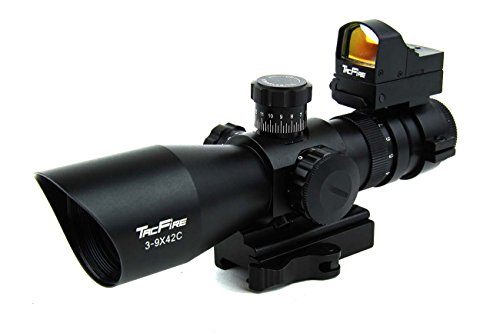 TacFire 3-9x42 illuminated Sniper Reticle Tactical Rifle Scope w/ Adaptor Mount and Mini Red Dot Sight for .223 / 5.56