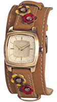 Kahuna Women's Quartz Watch with Gold Dial Analogue Display and Brown Leather Strap KLS-0240L