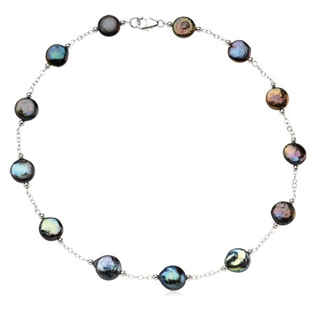 Black Freshwater Coin Pearl Necklace