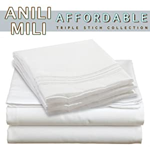 Anili Mili's Triple Stitch Embroidery Affordable 4 PC Bed Sheet Set - Queen Size, White