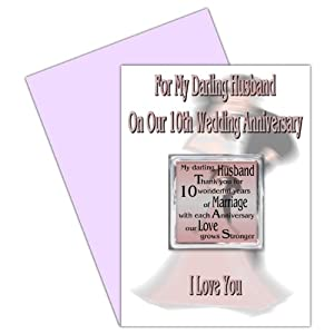 10th Wedding Anniversary Gift Husband : Husband 10th Wedding Anniversary Card With Removable Magnet Gift - 10 ...