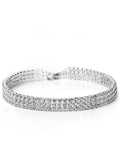 Neoglory Jewellery Rhinestone 925 Sterling Silver Plated Row Bracelets