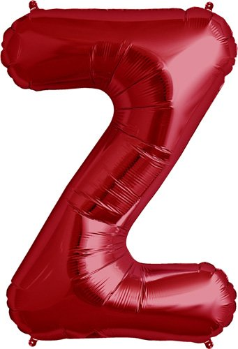 Letter Z - Red Helium Foil Balloon - 34 inch