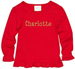 Lolly Wolly Doodle Customizable Baby-Girls Long Sleeve Single Ruffle Shirt