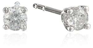10k White Gold Round-Cut Diamond Stud Earrings (1/4 cttw, J-K Color, I2-I3 Clarity)