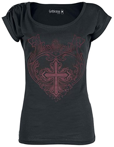 Gothicana by EMP Floral Cross Maglia donna nero XS