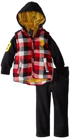 U.S. Polo Assn. Little Boys' Fleece Vest Hoodie with Jean, Black, 2T