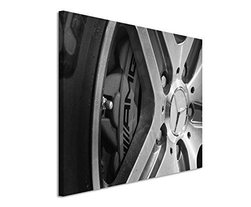 50x70cm Leinwandbild schwarz weiß in Topqualität Autoreifen Mercedes G63 AMG