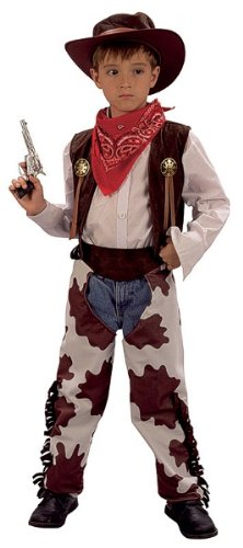 Bristol Novelty White/Brown Cowboy cowprint Chaps Costume Boy's Small 5-7 Years