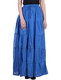 MSONS Women's Ethnic Blue Dobbi Long Skirt In Cotton Fabric - Free Size