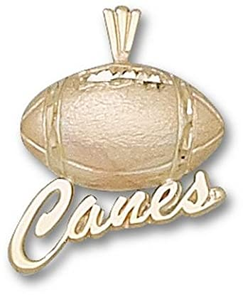 Miami Hurricanes Canes Football Pendant - 14KT Gold Jewelry by Logo Art