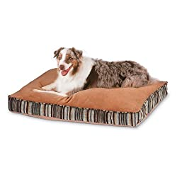 Petmate Microban Pet Bed Petmate Deluxe Pillow Bed with Microban Gusseted Red/Gold Striped Chenille 27-inch X 36-inch