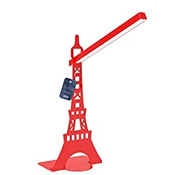 Reading Light, Table Light, Zovie - Book Light, Eiffel Tower Design, Flexible Neck Position, Touch-sensitive Controller with Eye Care Led Lamp,. (red)