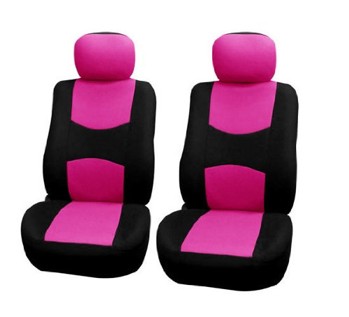 FH-FB050102 Flat Cloth Pair Bucket Seat Covers Pink / Black Color