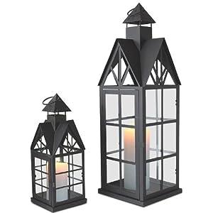 2tlg set laterne windlicht metalllaterne gartenlaterne gartenlampe gartenleuchte kerzenhalter. Black Bedroom Furniture Sets. Home Design Ideas