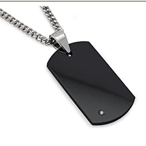 Men's Black Tungsten Carbide Dog Tag with Diamond 22