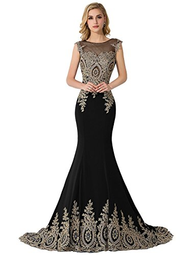 Mermaid Long Formal Gold Lace Sheer Prom Evening Dresses, Black UK 18
